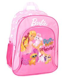 Barbie Pink Backpack Friends Print - 16 Inches