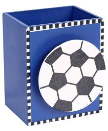 Fab N Funky Wooden Pen Stand Football Design - Blue