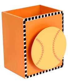 Fab N Funky Wooden Pen Stand Baseball Design - Orange