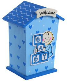 Fab N Funky Wooden Coin Bank House Shape - Blue