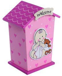 Fab N Funky Wooden Coin Bank House Shape - Pink