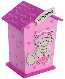 Fab N Funky Wooden Coin Bank Pink - House Shape