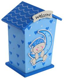 Fab N Funky Wooden Coin Bank Blue - House Shape