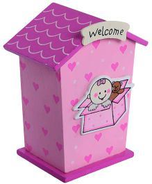 Fab N Funky Wooden Coin Bank Pink - Welcome Print