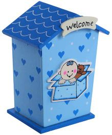 Fab N Funky Wooden Coin Bank Blue - Welcome Print