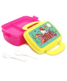 Hello Kitty Double Layer Lunch Box - Pink And Yellow