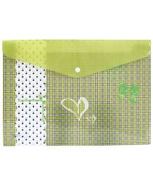 Fab N Funky Envelope Folder Green - Bow And Heart Design