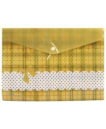Fab N Funky Envelope Folder Yellow - Checks And Polka Dots Design
