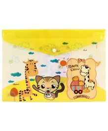 Fab N Funky Envelope Folder Yellow - Animal Print