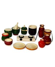 Aatike Little Chef Wooden Cooking Set - Multi Color