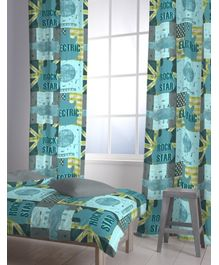 D'Decor - Little Rockstar Aqua Readymade Single Door Curtain
