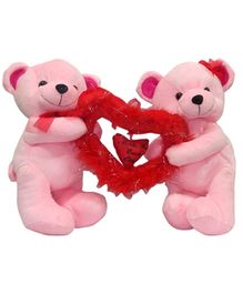 DealBindaas Stuff Toy Teddy Bear Couple Carrying Heart Cream - 20 cm (Colors May Vary)
