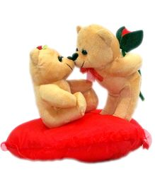 DealBindaas Stuff Toy Teddy Bear Couple On Heart With Rose And Love