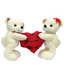 DealBindaas Stuff Toy Teddy Bear Standing Couple Carrying Heart - 20 cm (Colors May Vary)