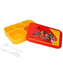 Chhota Bheem Lunch Box With Fork And Spoon - Yellow