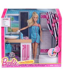 Barlie Deluxe Bathroom Set With Doll - Sky Blue