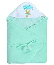 Tinycare Deluxe Hooded Towel Parachute Print - Light Green