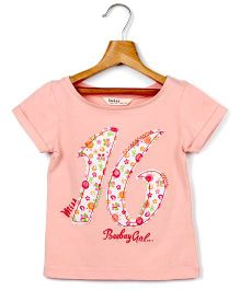 Beebay Boat Neck T-Shirt Peach - 16 Embroidery