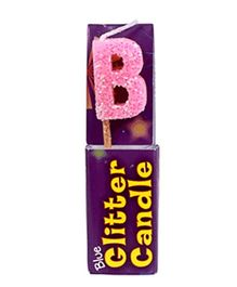 Party In A Box Cake Glitter Candle Pink - Alphabet B