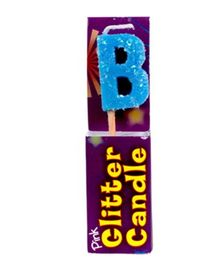 Party In A Box Cake Glitter Candle Blue - Alphabet B
