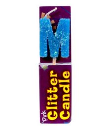 Party In A Box Cake Glitter Candle Blue - Alphabet M