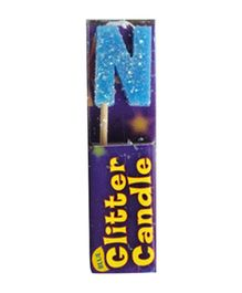 Party In A Box Cake Glitter Candle Blue - Alphabet N