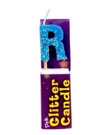 Party In A Box Cake Glitter Candle Blue - Alphabet R