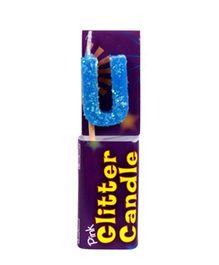 Party In A Box Cake Glitter Candle Blue - Alphabet U