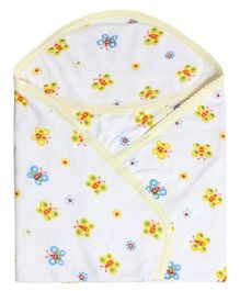 Tinycare Hooded Bath Towel Butterfly Print - Bright Yellow