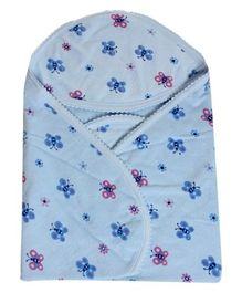 Tinycare Hooded Blue Towel - Butterfly Print