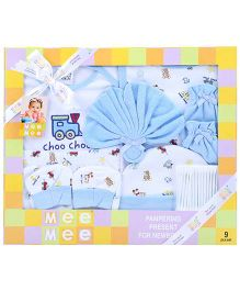 Mee Mee Pampering Present For New Born Blue - Pack Of 9