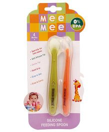Mee Mee Silicone Feeding Spoon - Green And Orange