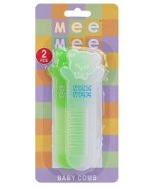 Mee Mee Cutie Bear Baby Comb Green And White - Pack of Two