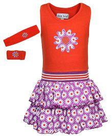 bio kid Sleeveless Dress With Headband And Wristband Floral Print - Orange