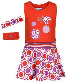 bio kid Sleeveless Dress With Headband And Wristband Circle Print - Orange