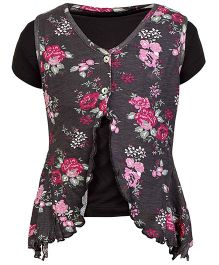 bio kid Short Sleeves Top With Shrug - Floral Print