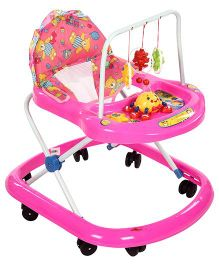 Baby Walker With Hanging Toys - Light Pink