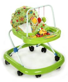 Baby Walker With Hanging Toys And Teddy Bear Print On Seat - Green