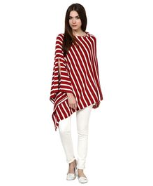Pluchi Fashion Knitted Cotton Poncho Garnet - Red And White