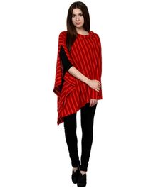 Pluchi Fashion Knitted Cotton Poncho Garnet - Red And Hot Red