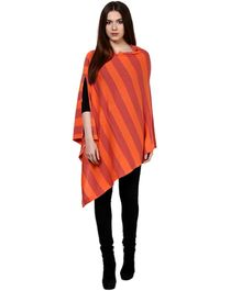 Pluchi Fashion Knitted Cotton Poncho Hannah- Castle Pink And Crimson