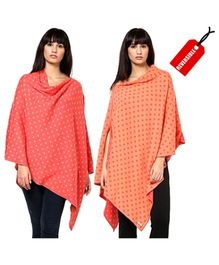 Pluchi Fashion Reversible Nursing Poncho Triny - Castle Pink & Crimson