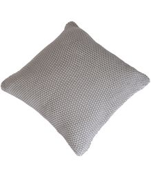 Pluchi Cotton Knitted And Purl Cushion Cover - Light Grey