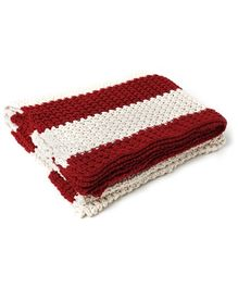 Pluchi Coastal Knitted Throw Blanket - Dark Red