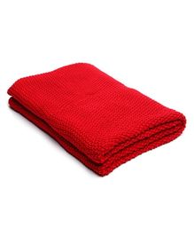 Pluchi Knit And Purl Throw In Lovely Red Color