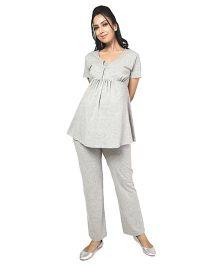 Nine Super Comfy Foldover Jersey Pants - Grey