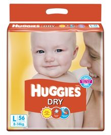 Huggies Dry Taped Diapers Large Size - 56 Pieces