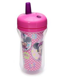 Disney International Minnie Insulated Straw Cup With Lid Pink And Purple - 300 ml