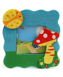 Bug And Mushroom Design Photo Frame Stand - Blue And Green