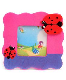 Wooden Photo Frame Lady Bug Design - Dark Pink